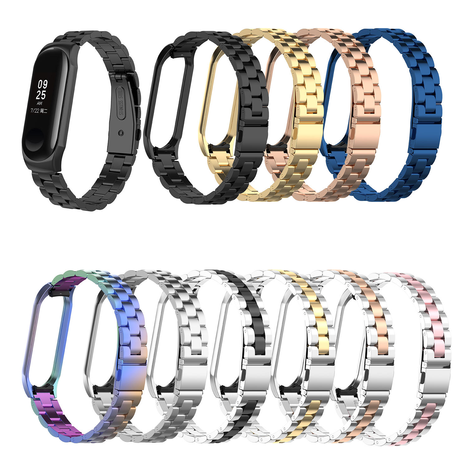 Bakeey Colorful Stainless Steel Watch Band Penggantian Watch Strap untuk Xiaomi mi band 3/4