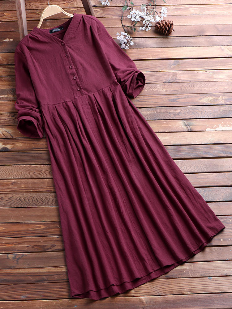 Women Vintage Buttons V Neck Long Sleeve Loose Shirt Dress