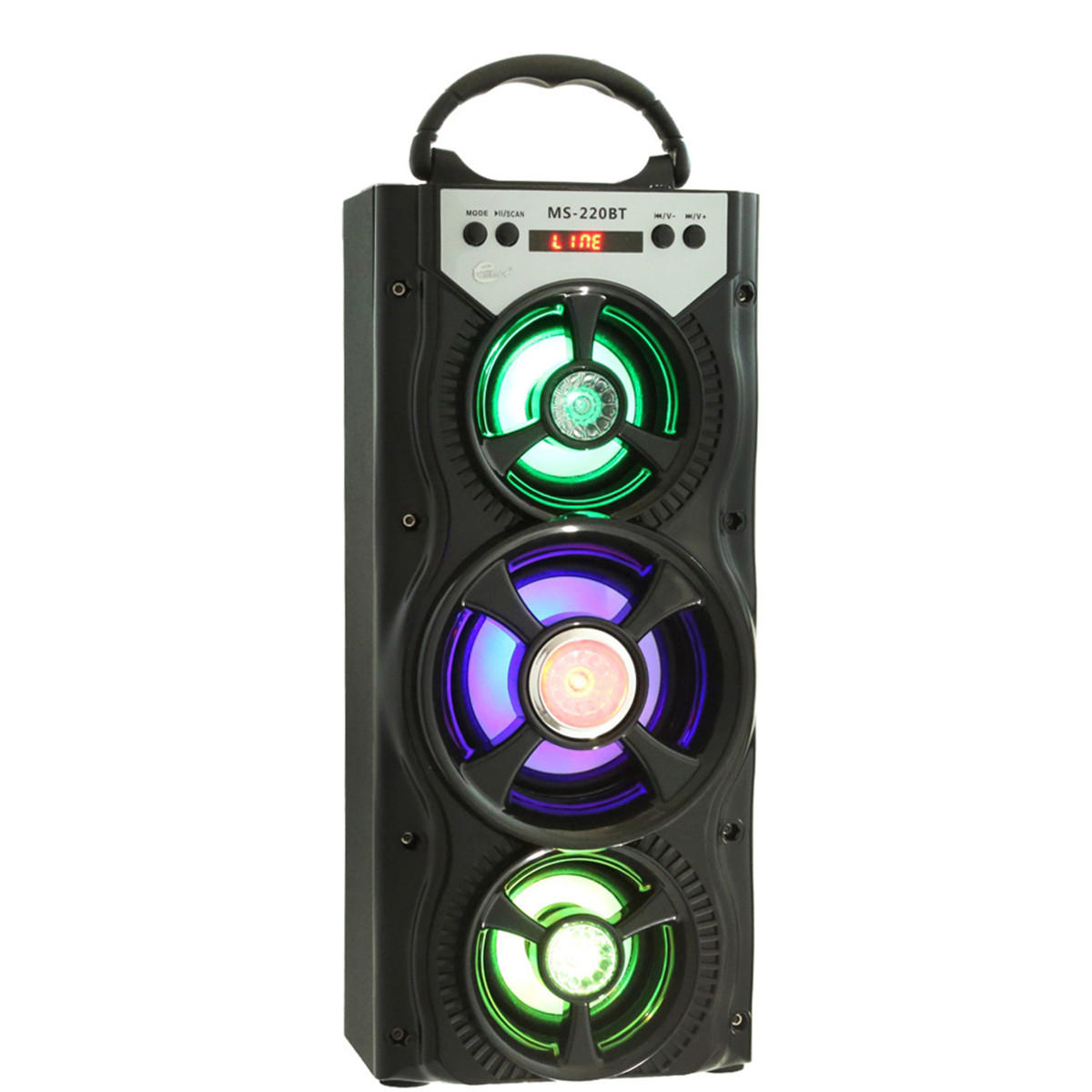 MS-222BT Wireless bluetooth Square Dancing LED Speaker With FM Radio AUX USB TF Card Slot