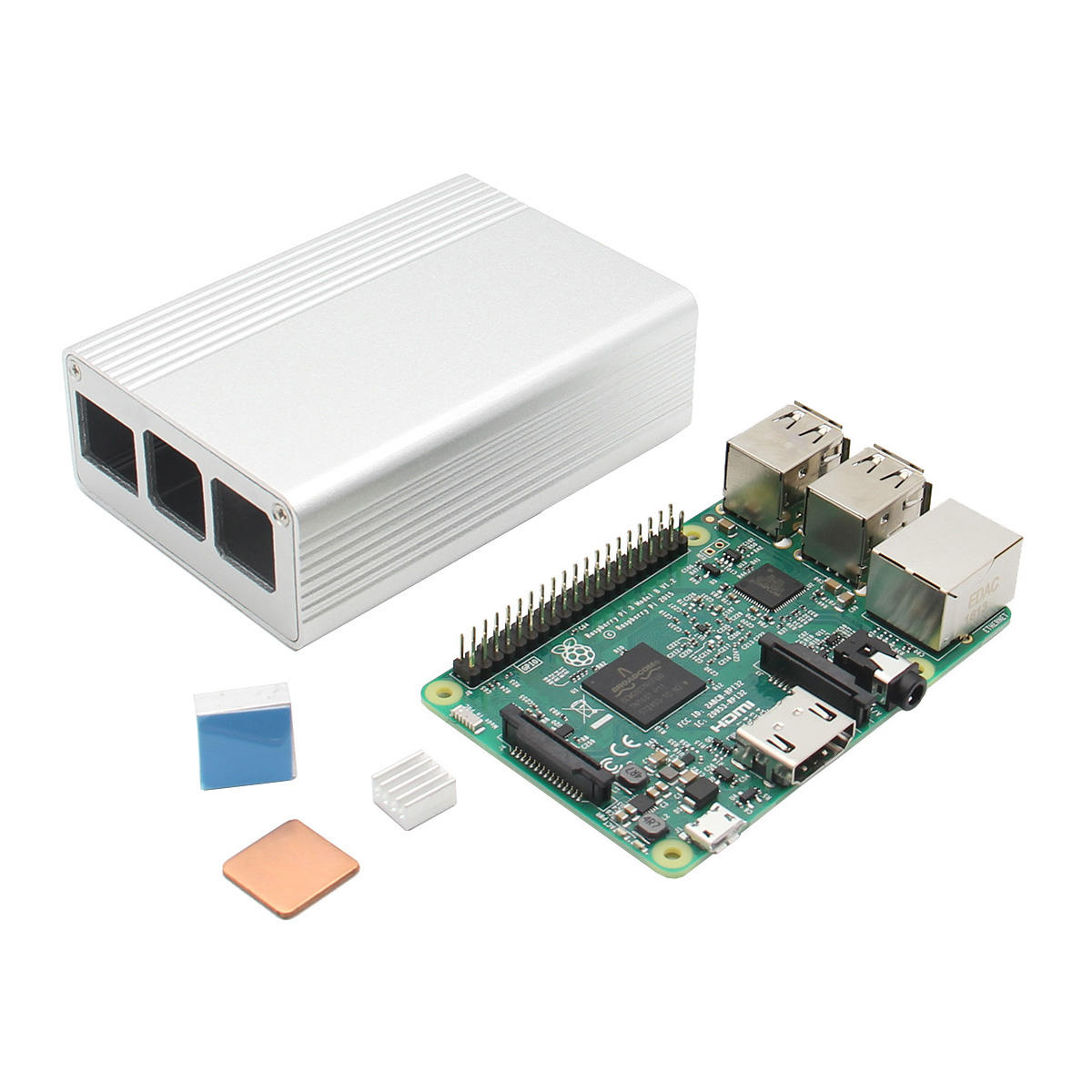 3 In 1 Raspberry Pi 3 Model B Board + White Aluminum Alloy Case + Aluminum Copper Heat Sink Kit