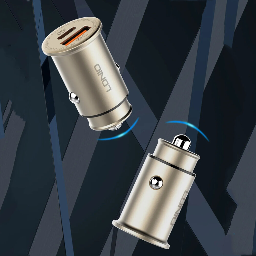 LDNIO Car Charger QC4+ PD3.0 Dual Port Fast Charging with Data Cable For iPhone XS 11Pro Huawei P30 P40 MI10 Note 9S