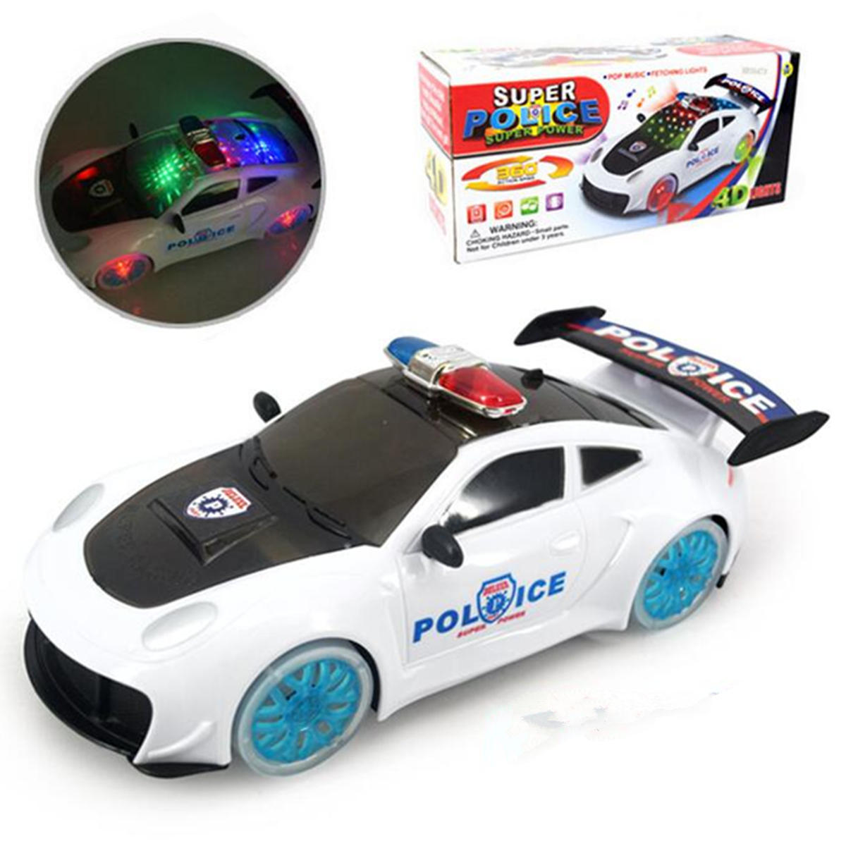 Police Car Truck Model Toys Gift For Kids Boys 360 Rotate With Music