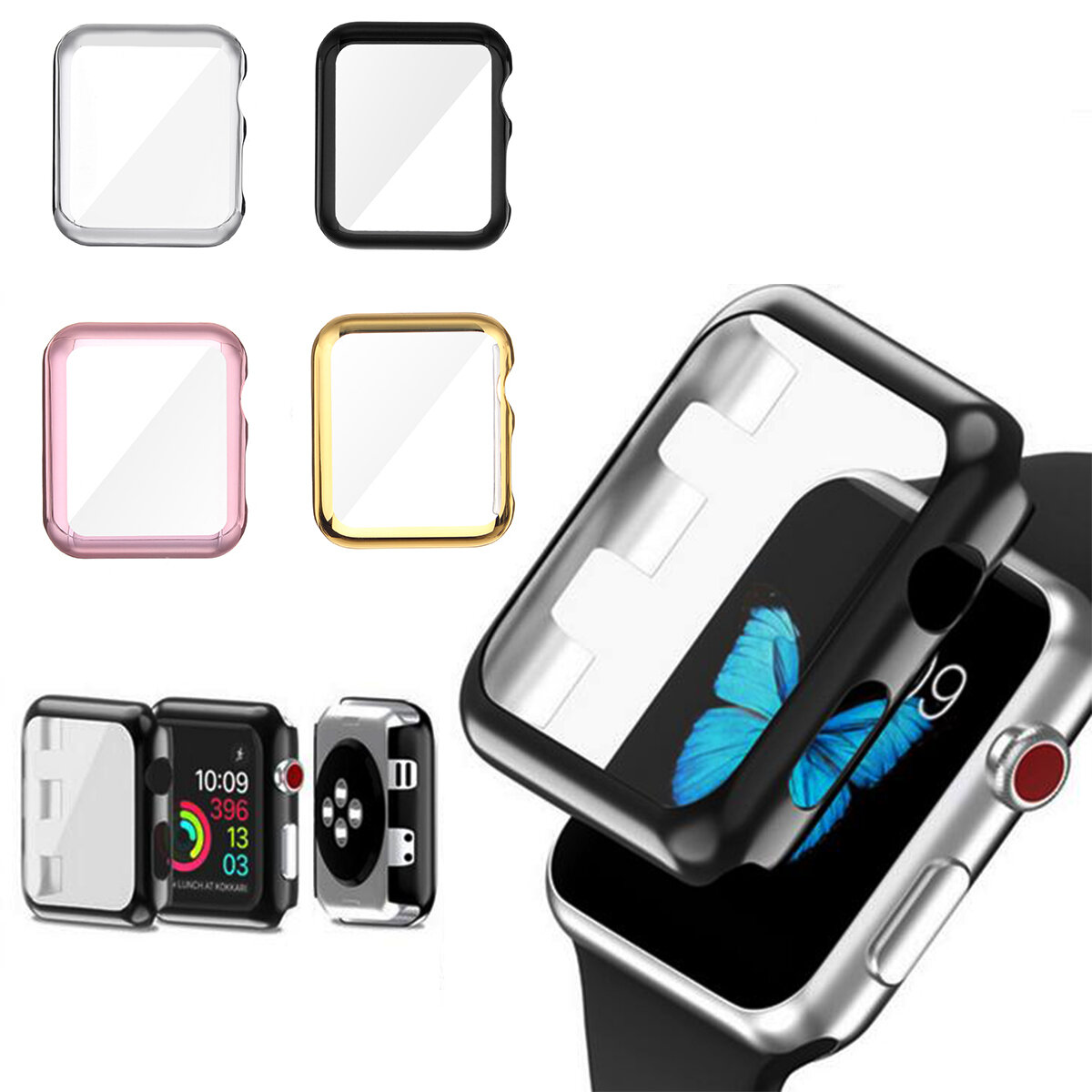 san francisco 7e1f8 65ac6 38/42mm Plating PC Front Case Screen Protector Cover for Apple Watch Series  3