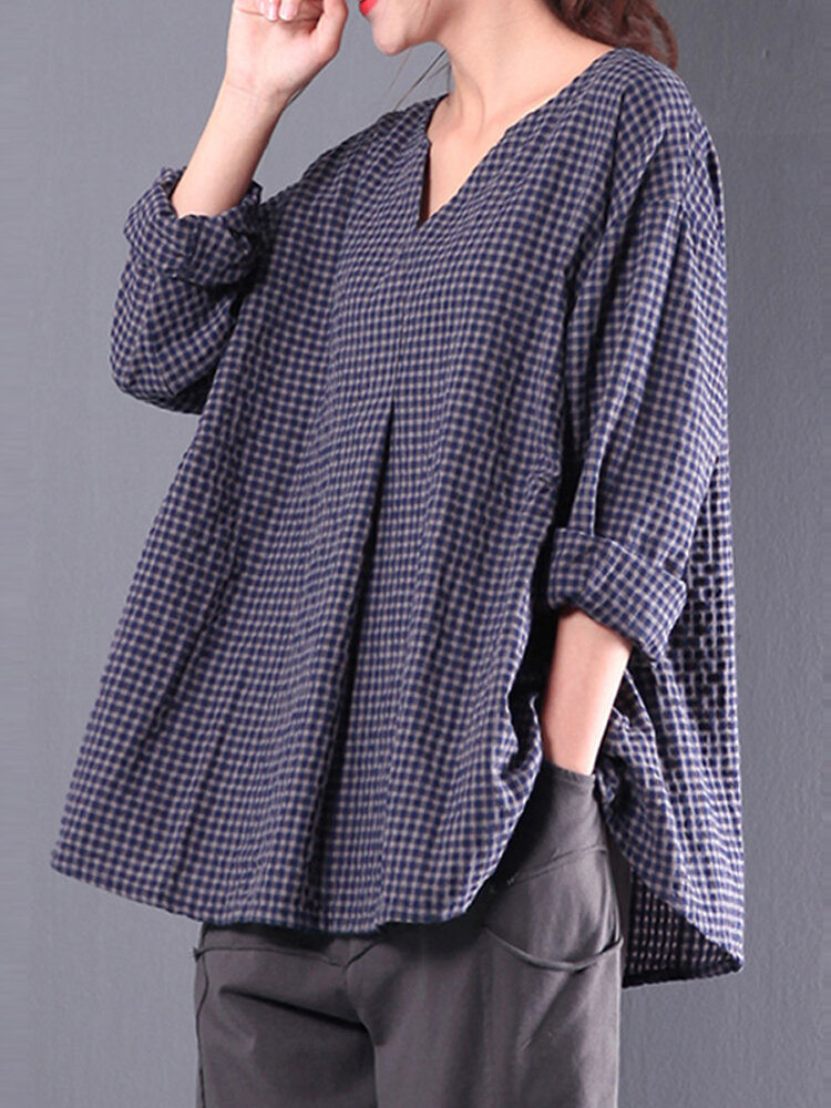 S-5XL Retro Women Plaid Long Sleeve Vintage Blouse