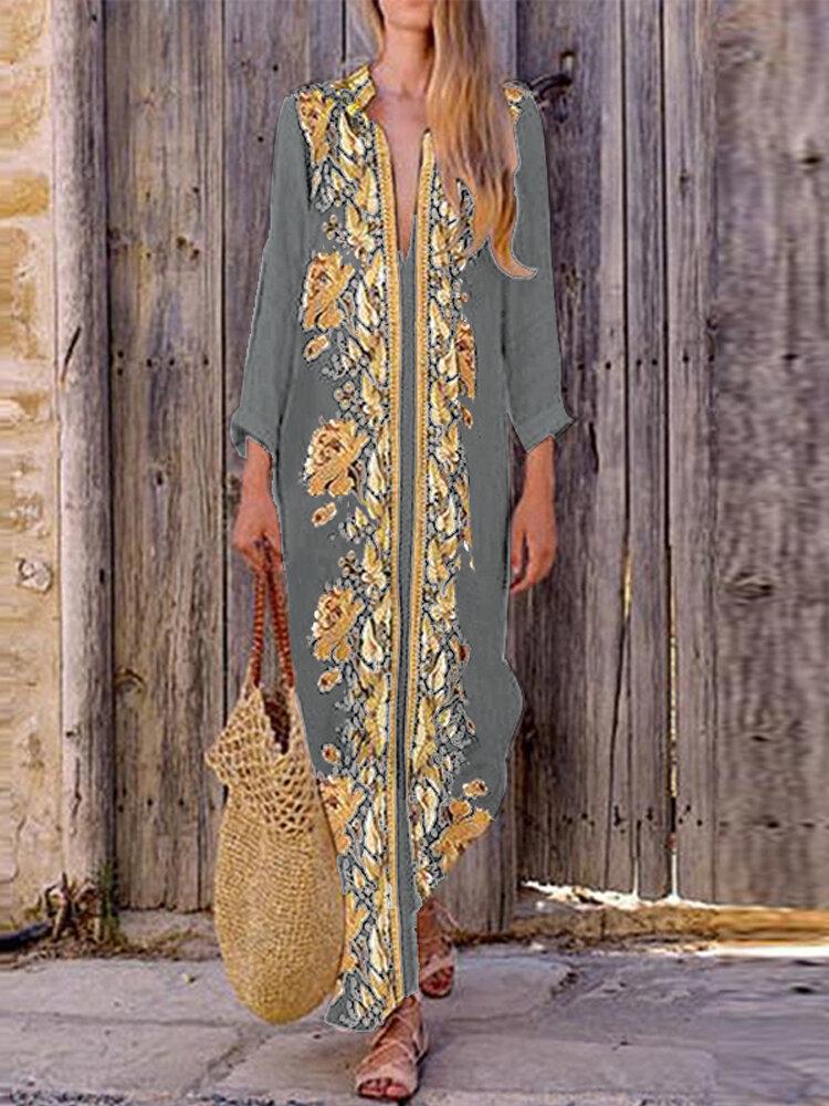Bohemian Kadın V Boyun Çiçek Baskı Plaj Tatil Bölünmüş Maxi Elbise