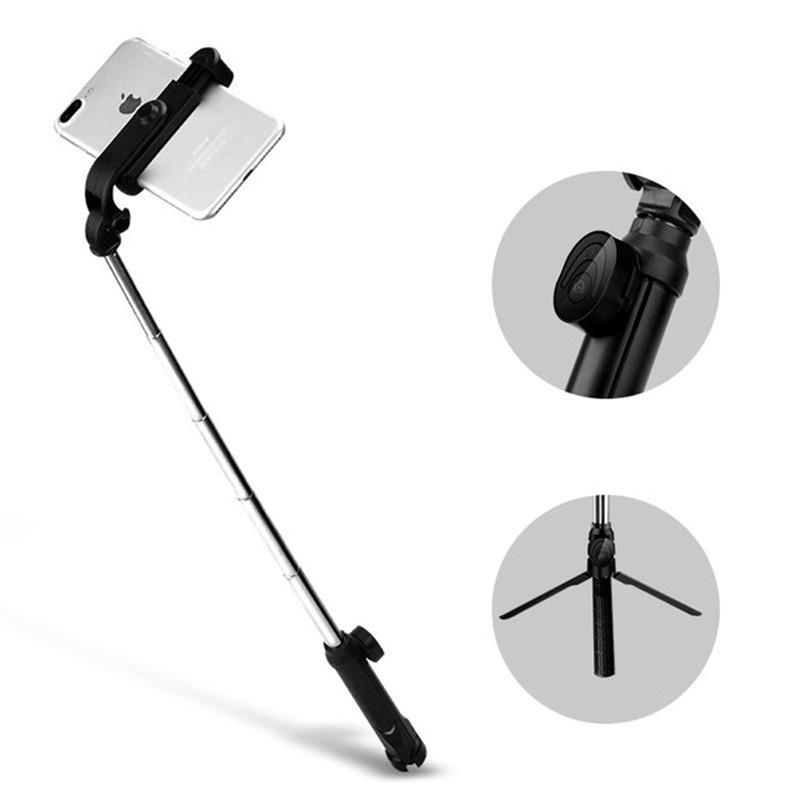 3ecc6af37a8389 XT10 Portable Extended Rotation bluetooth Remote Selfie Stick Tripod Mobile  Phone Holder for Live Sports - Black COD