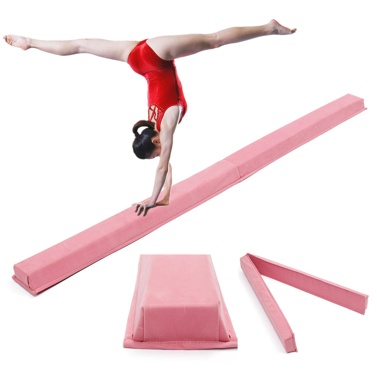 94.5x5.9inch Adult Children Professional Gymnastics Balance Beam Mat Pink Skill Performance Training