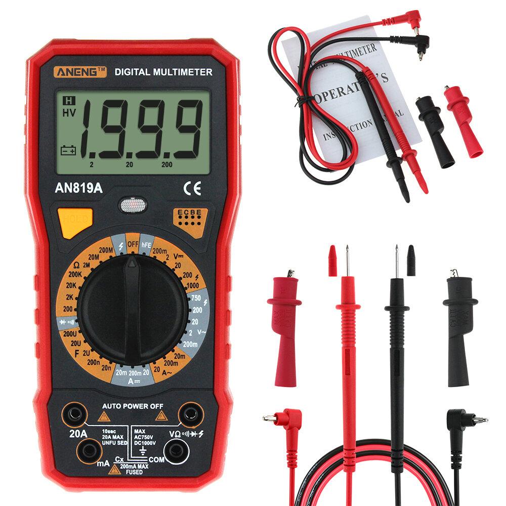ANENG AN819A Digital Multimeter AC DC Current Voltage Capacitance Resistance Diode Tester Live Line Measurement + Crocod фото