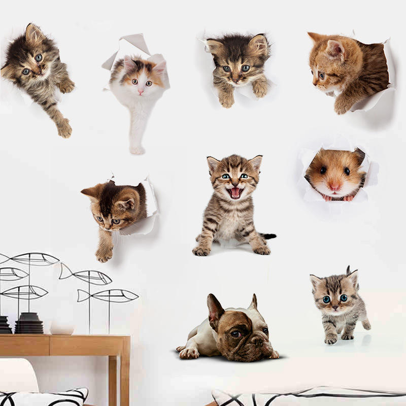 3D Cats Dogs Hamster Wall Sticker Kids Room Cute Animals Decal Art Poster Toilet Stickers Home Decor