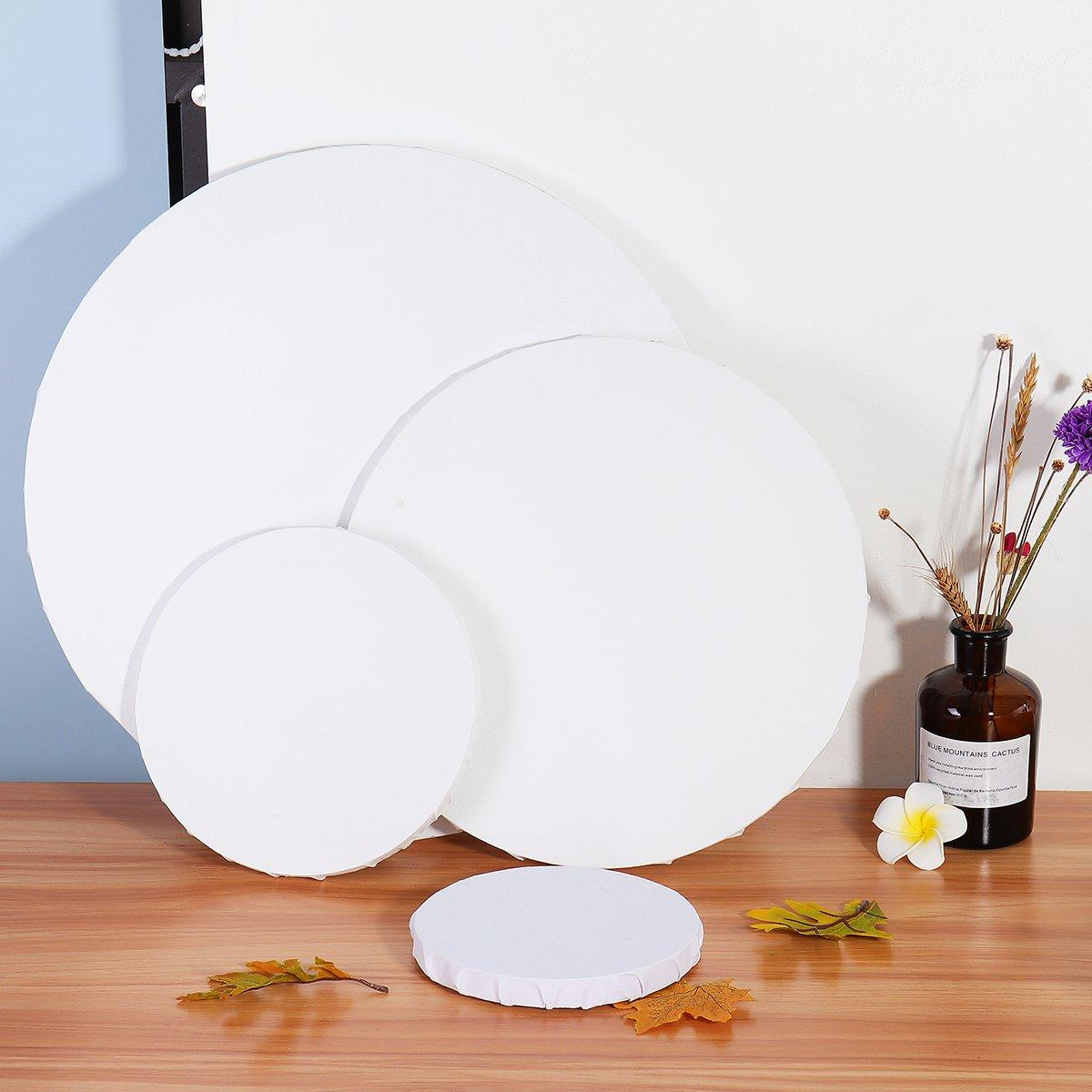 6/8/12/16'' Blank White Round Artist Canvas Wooden Drawing Board Acrylic Oil Paintings