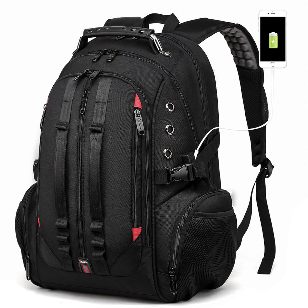 ErkeklerBüyükKapasiteliSırtÇantasıSchoolbag Dizüstü Seyahat Çanta USB Portu Kulaklık Delik Çanta