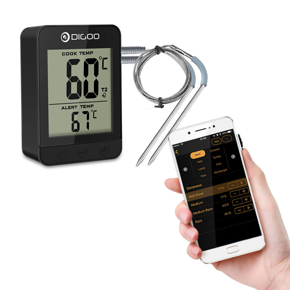 Digoo DG-FT2203 Smart Bluetoorh LED & LCD Display BBQ Kitchen Cooking Thermometer With Double Stainless Steel Metal Probes APP Function For Meat Turkey Barbecue Grilling Chicken