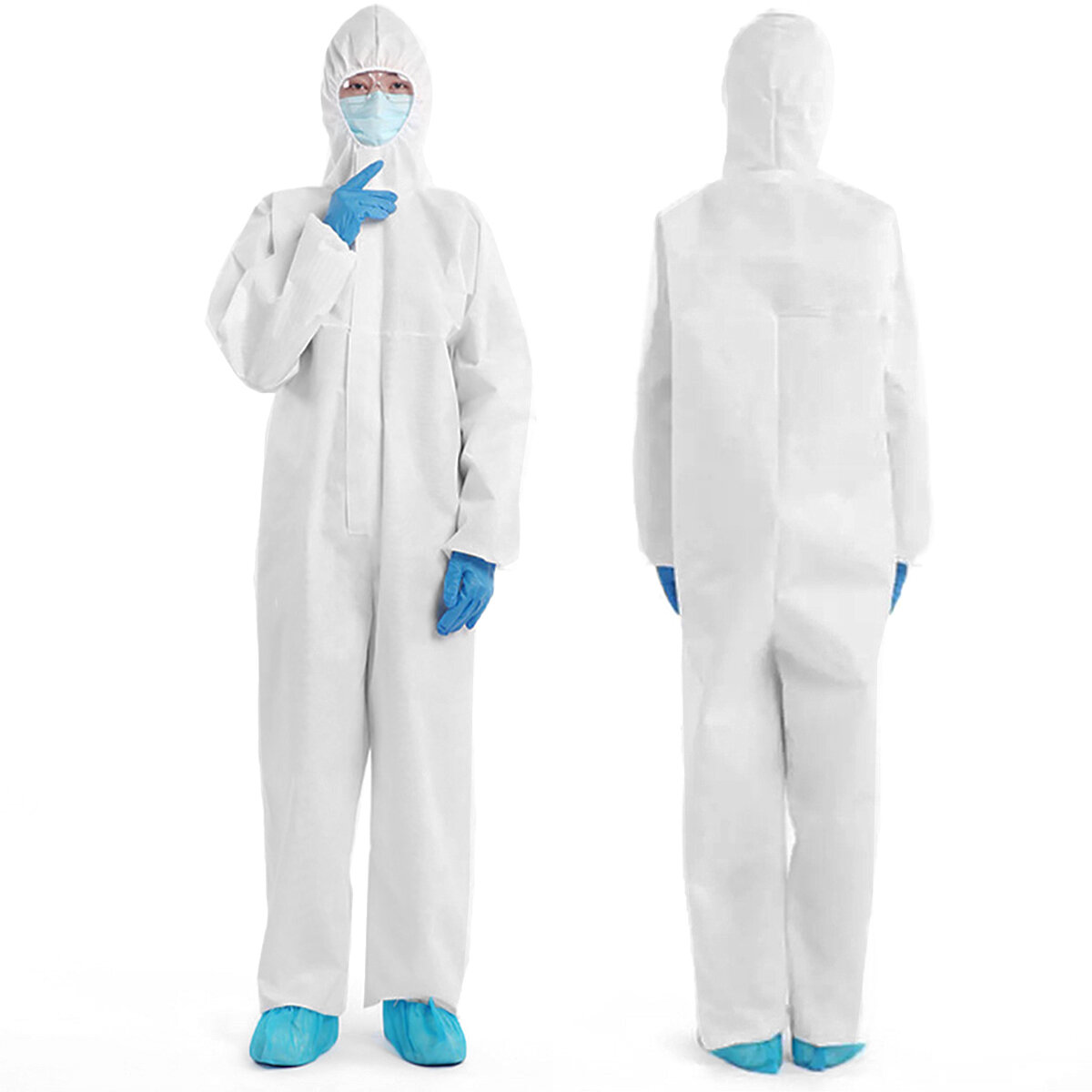 Disposable Protective Clothing Isolated with Cap Overall Protective Non-Woven Unisex Breathable Anti-Static Dustproof