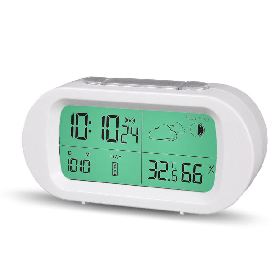 Loskii HC-102 Digital Time Thermometer Date Weather Display Snooze Mode Alarm Clock with LCD Screen