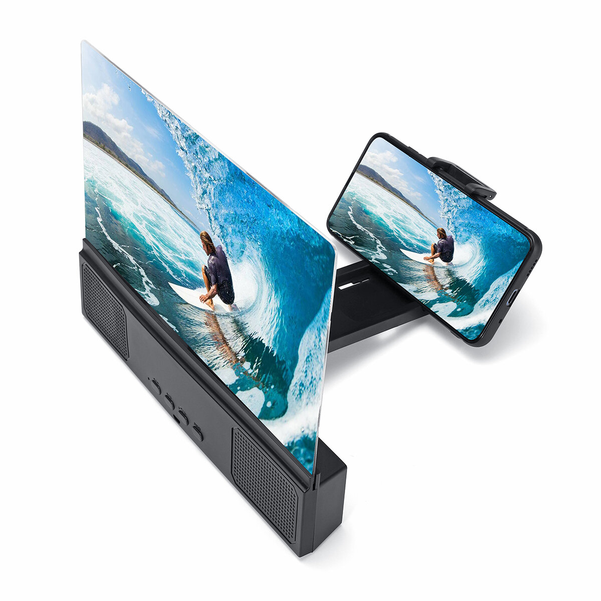 "12"" 3D Phone Screen Magnifier Movie Video Screen Amplifier With bluetooth Speaker For Smart Phone iPhone Samsung Huawei Xiaomi"