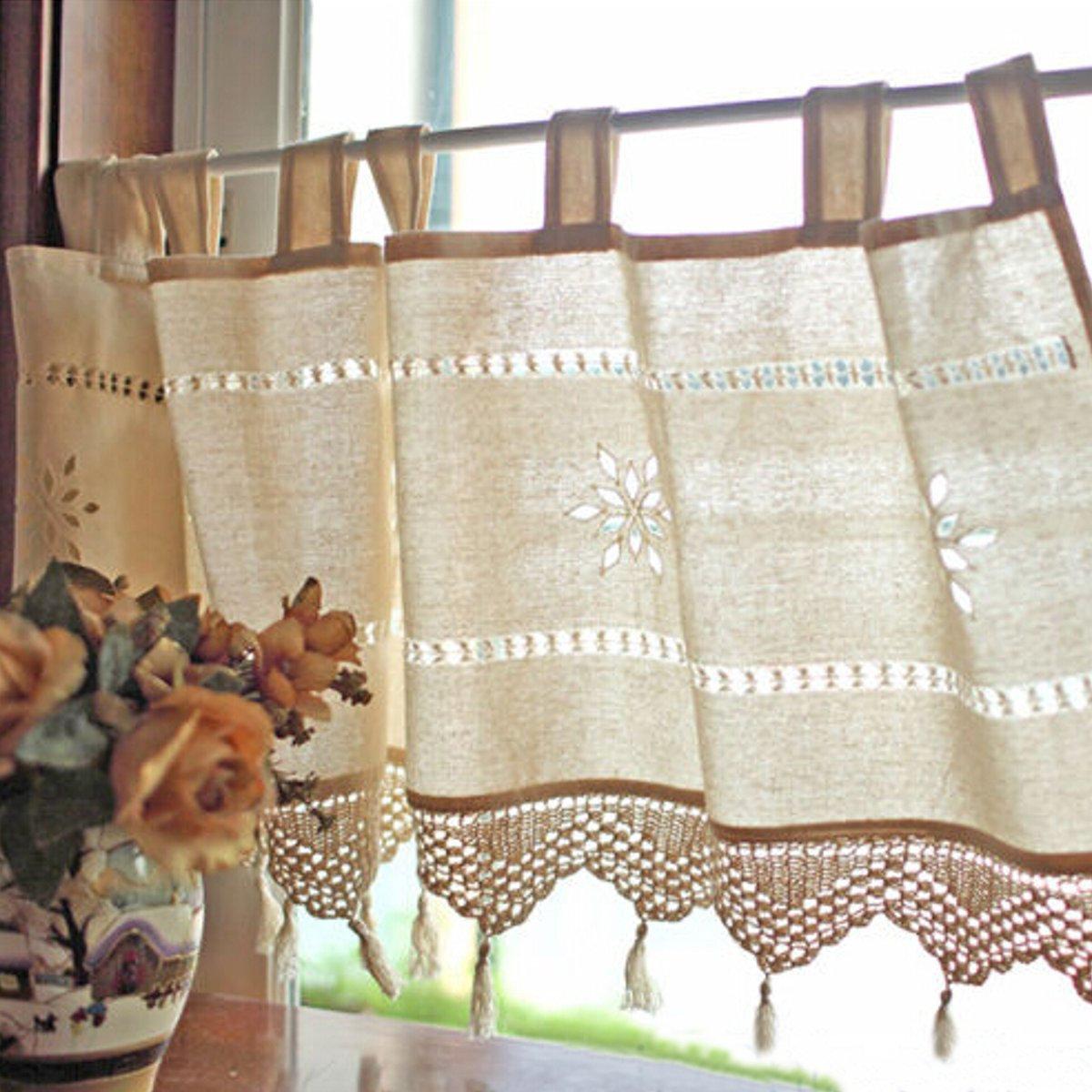 Estilo rústico bordados sábanas de algodón francés cortina de la cocina en casa cortina de café
