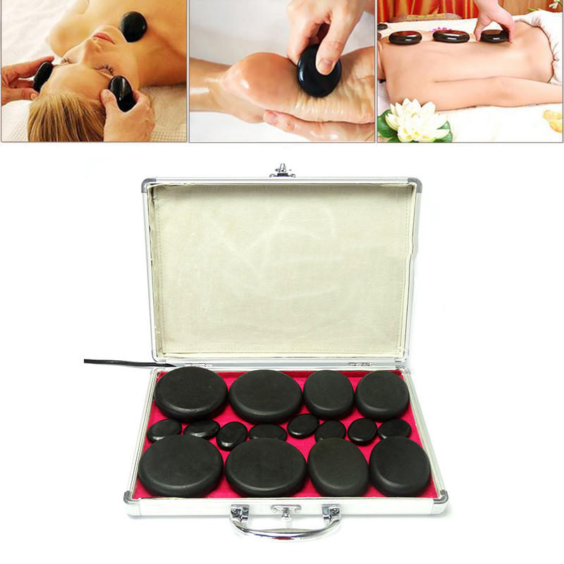 16Pcs Natural Energy Hot Stone Set Massage Stone Heater Box Kit Home Spa Relaxing Pain Relief Healing
