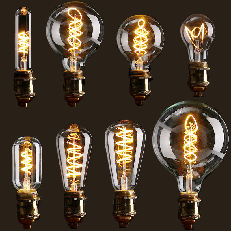 E27 Dimmable Cob Led Vintage Retro Edison Lamp Indoor Lighting Filament Light Bulb Ac110v