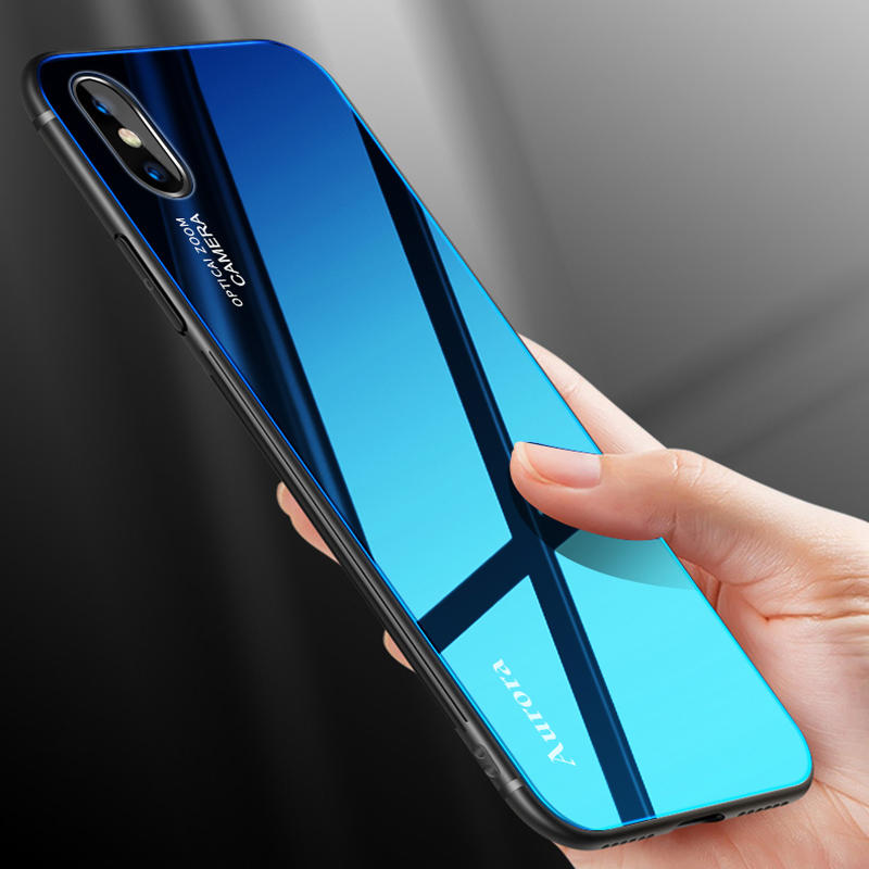 watch 3da41 2b8a7 Bakeey Gradient Color Aurora Blue Ray Tempered Glass Soft Edge Protective  Case for iPhone X