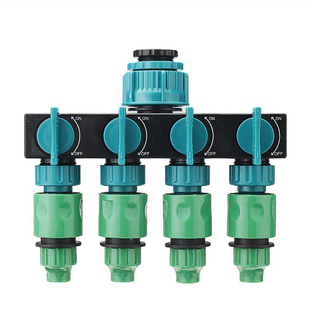 4 WAY GARDEN TAP CONNECTOR SPLITTER SHUT OFF VALVE 1 TAP TO 4 WATER HOSE ADAPTOR