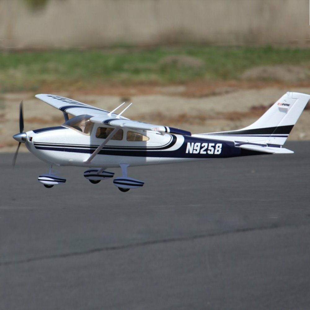 FMS SKY TRAINER 182 Blue 1400mm Wingspan EPO RC Airplane Trainer PNP with Flaps LED Lights