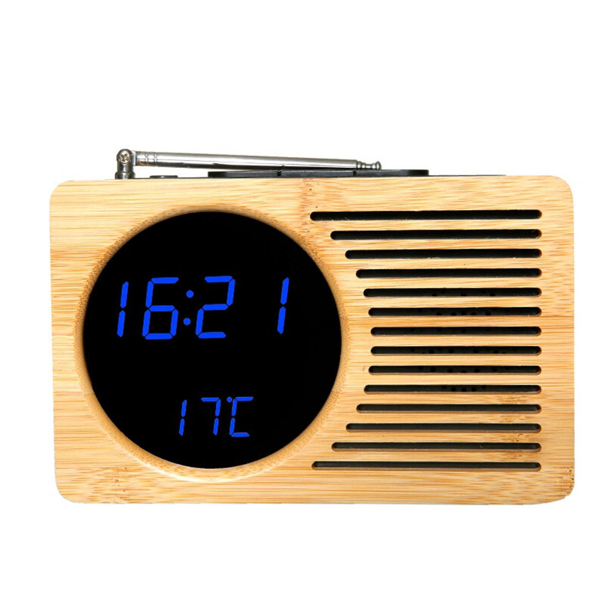 Retro Bamboo Led Digital Fm Radio Alarm Clock Sound Control Time Date Temperature For Bedroom Office Home