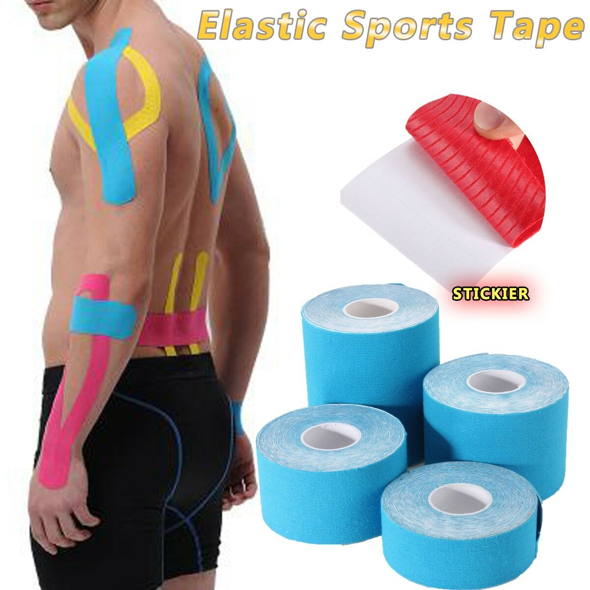 1pc 5m Self-adhesiv Elastic Sport Muscle Sport Tape Bandage Physio Strain Support Pain Relief Roll