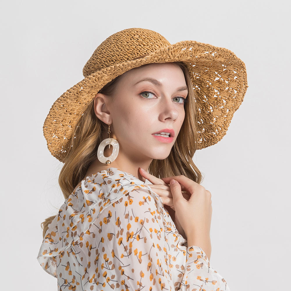 Woman Solid Color Large Edge Cap Travel Shade Straw Hat With Fine Needle Leather Rope
