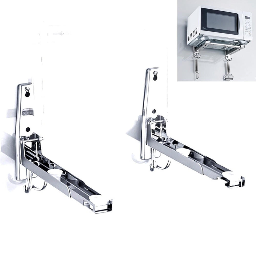 304 Stainless Steel Microwave Oven Rack Retrackable Foldable Wall Mounted Stand Kitchen Storage Rack Bracket With Two Removable Hooks
