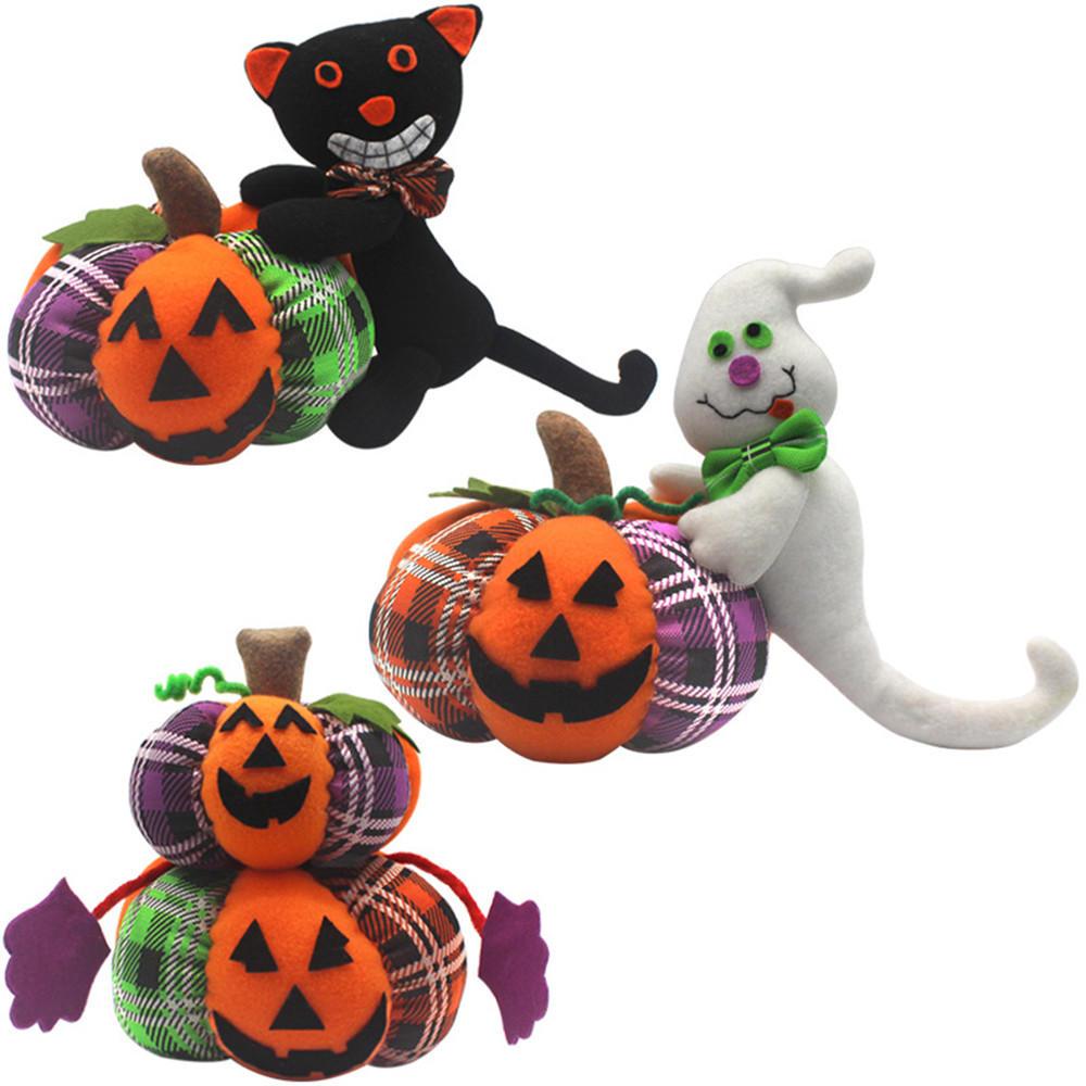 Halloween Pumpkin Cartoon Images.Halloween Stuffed Plush Toy 30cm Doll Pumpkin Ghost Black Cat Cartoon Party Doll