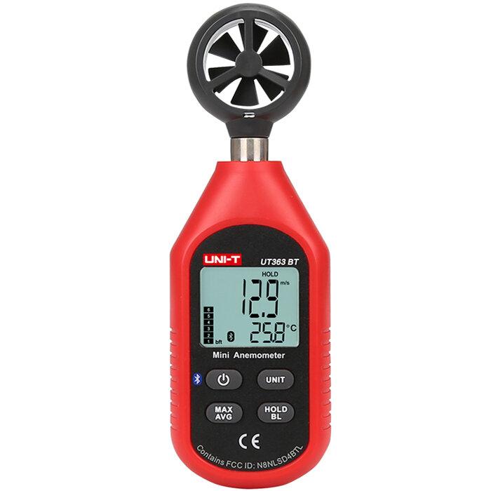 UNI-T UT363BT Bluetooth Medidor de velocidad de viento Mini Medidor de velocidad de anemómetro digital Medidor de viento Termómetro