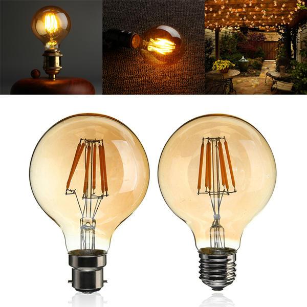 B22/E27 Dimmable G80 LED 6W Vintage Globe Cage Edison Filament Light Bulb Lamp AC220V