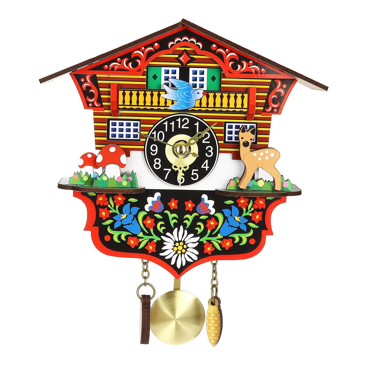 KB-002 Wooden Cuckoo Clock 3D Swing Clock Cartoon Wall Clock Bird Time Bell Alarm Watch