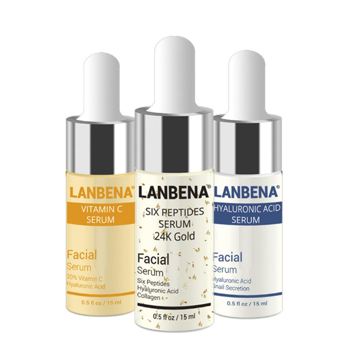 LANBENA 3pcs Hyaluronic Acid Serum Six Peptides Serum 24K Gold Anti-Aging Vitamin E
