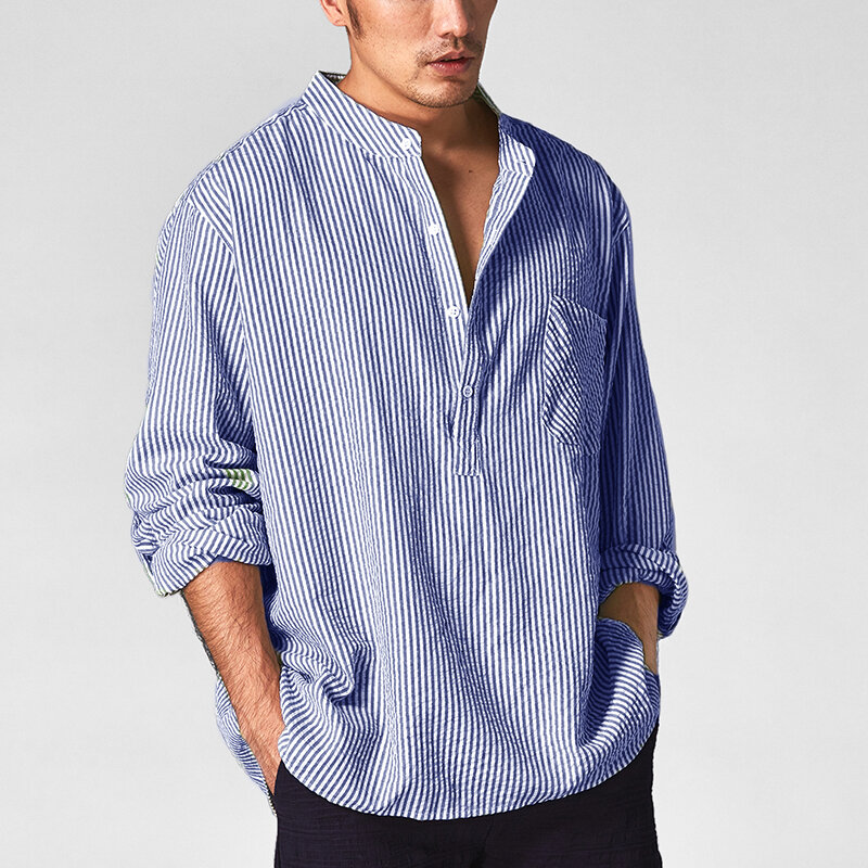 Mens Striped Casual Loose Long Sleeve Tops Shirts