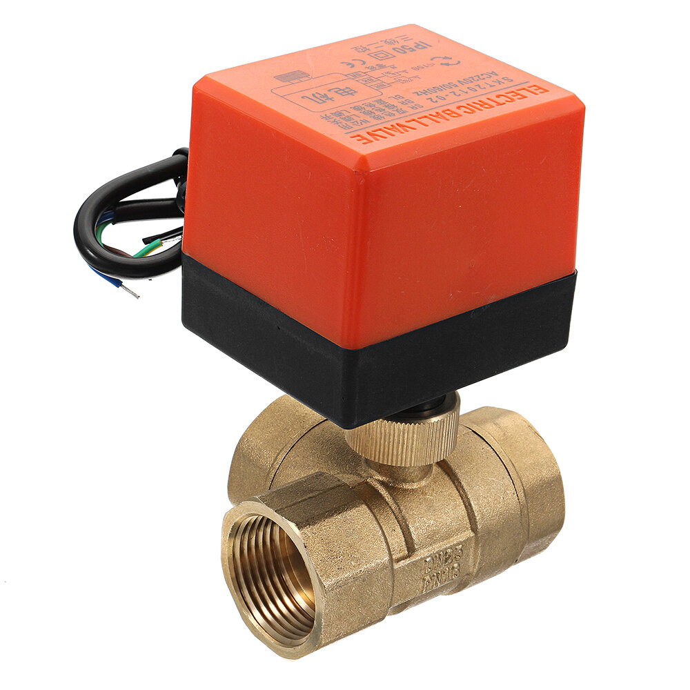 "1/2"" 3/4"" 1"" Motorized Electric Brass 3 Way Ball Valves Female 3 Wire AC 220V Full Port T Type Valve"