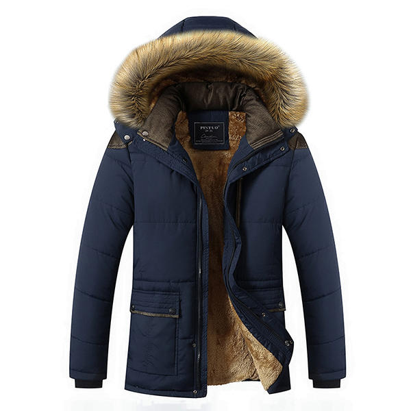 brand new 3bf3c f2a3f Mens Thick Fleece Warm Hooded Fur Winter Outwear Jacket Outdoor Casual  Shoulder Splices Coat