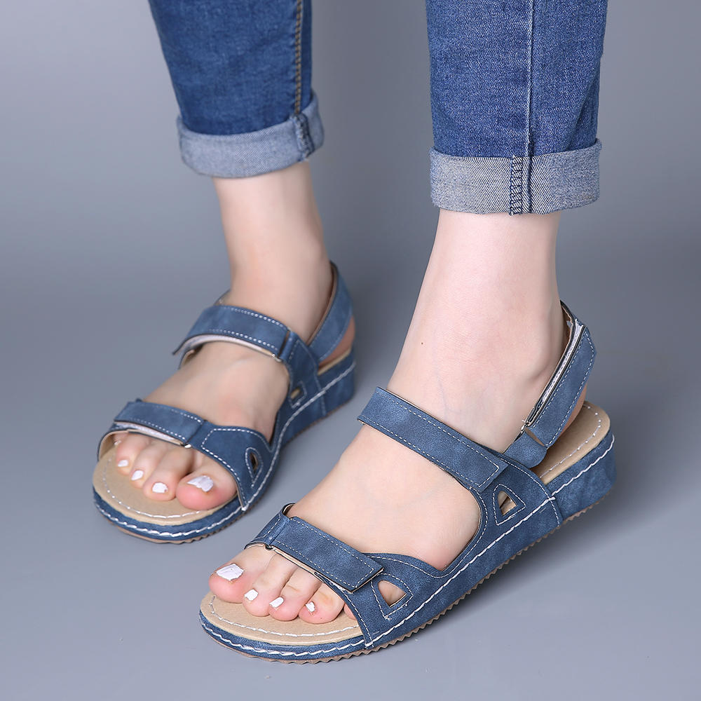 Large Size Women Casual Compy Solid color Hook Loop Sandals