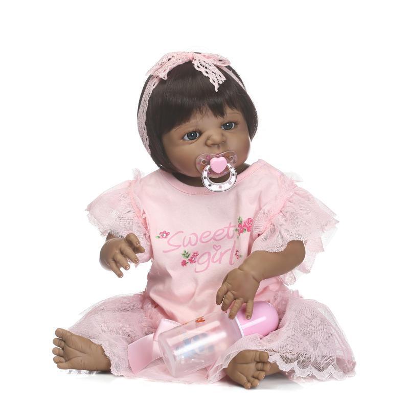 """NPK completo Silicona muñecas renacientes del bebé 22 """"piel negra bebés renacidos muñecas de la niña pequeña niño regalo bebe"""