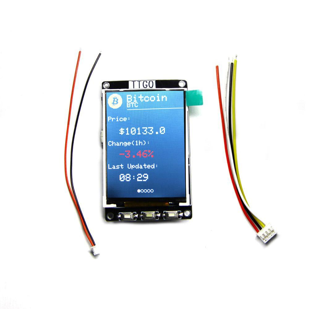 LILYGO® TTGO BTC Ticker ESP32 Moduł do Arduino Source Bitcoin Price Ticker Program 4 MB SPI Flash 4 MB Psram LCD