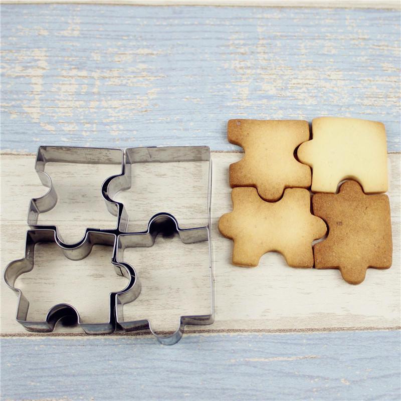 4pcs molde de pastel de acero inoxidable pieza del rompecabezas pastelería galleta cortador de galletas para hornear herramientas accesorios