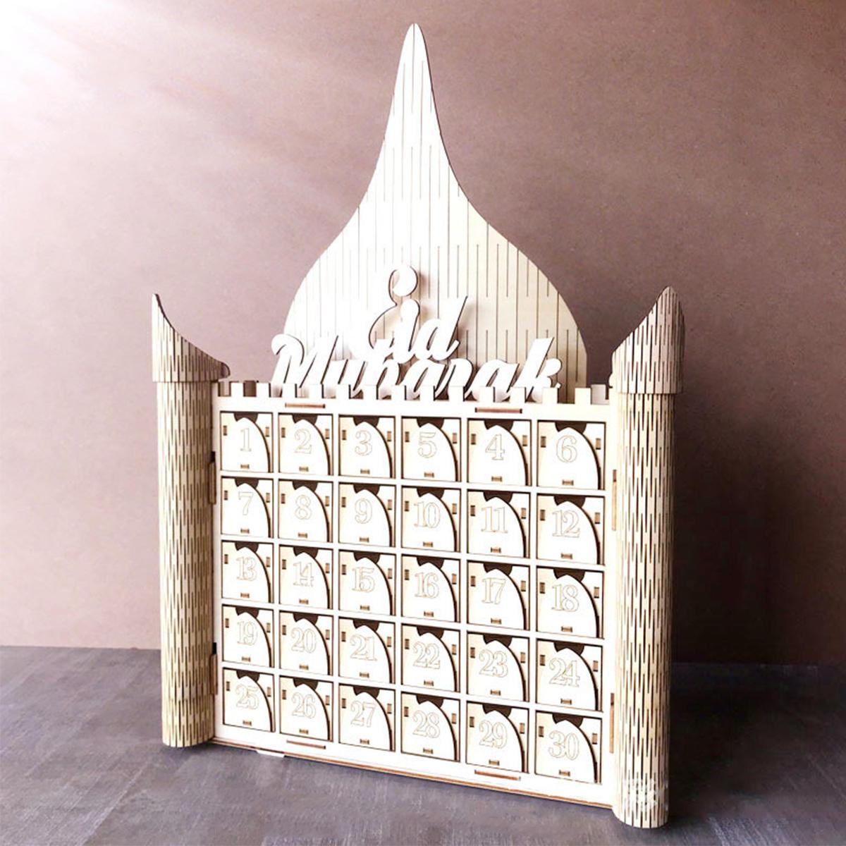 MDF Wooden Decorations Ramadan Advent Calendar DIY House Drawer Stand Rack