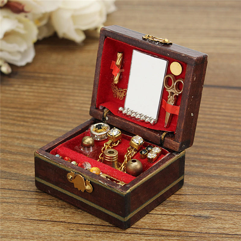 Vintage Wooden Dollhouse Miniature Filled Jewelry Box Case Bedroom Accesso NEW