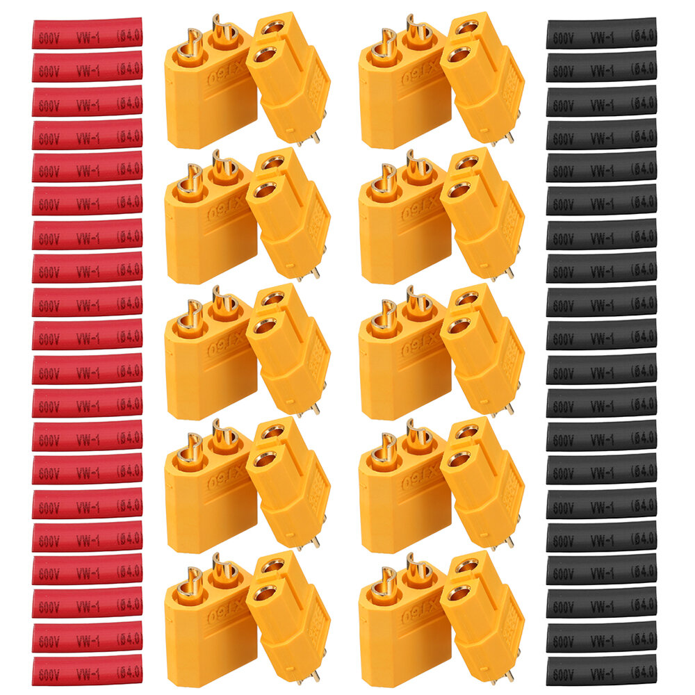 Banggood coupon: 10 Pair URUAV XT60 Male Female Bullet Connectors Power Plugs with Heat Shrink Tube for Lipo Battery