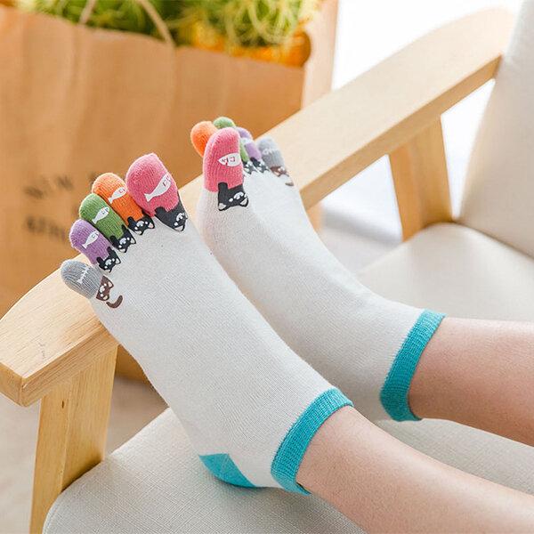 Women Girl Cute Cartoon Cotton Five Toe Socks