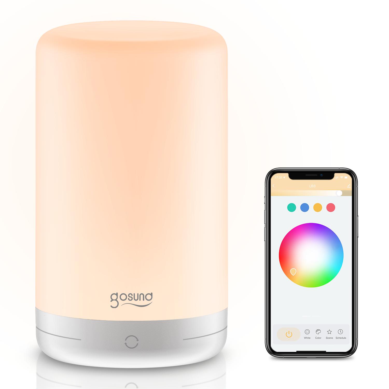 Gosund Smart Лампа Прикроватная тумбочка с регулируемой яркостью Лампа Для управления приложением в спальне Colorful Зам