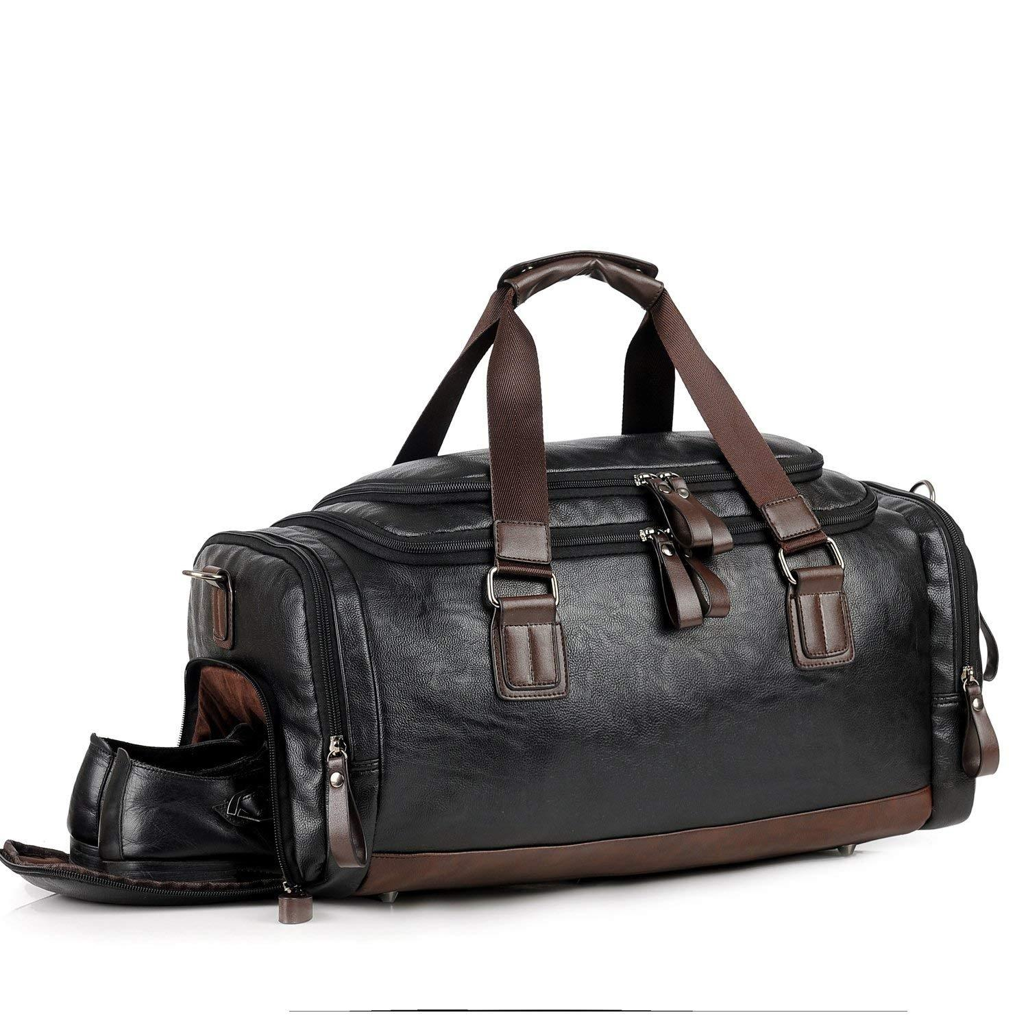 UK Men Large Leather Duffle Luggage Weekend Gym Sport Overnight Travel Tote Bag
