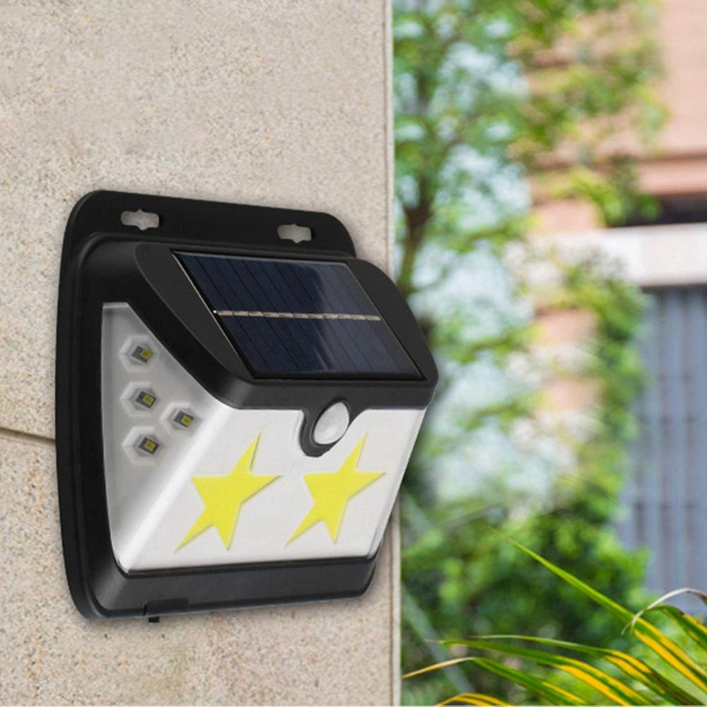 Solar Powered COB LED Star Wall Lamp PIR Motion Sensor Light Waterproof Outdoor Garden Yard Gate