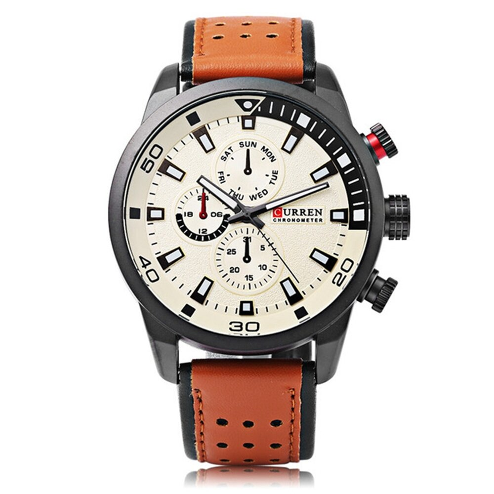 CURREN 8250 Luxury Leather Watch Band Fashion Casual Men Quartz Wrist Watch