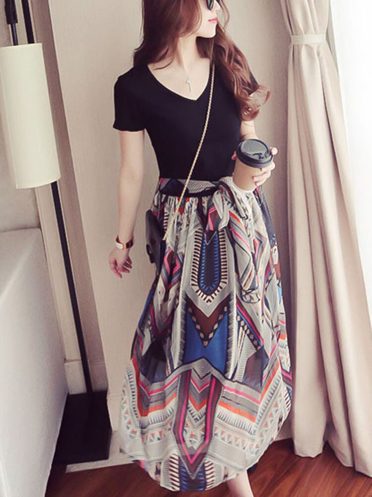 Floral Chiffon V Neck High Waistline Maxi Dress Slim Beach Summer Casual Dress